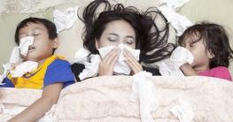 Grippekranke liegen im Bett