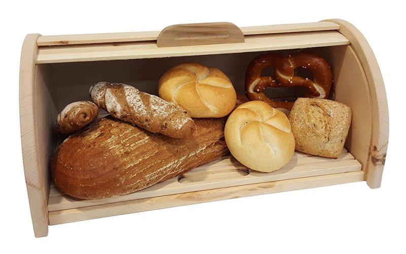 Gefüllte Brotdose aus Zirbenholz
