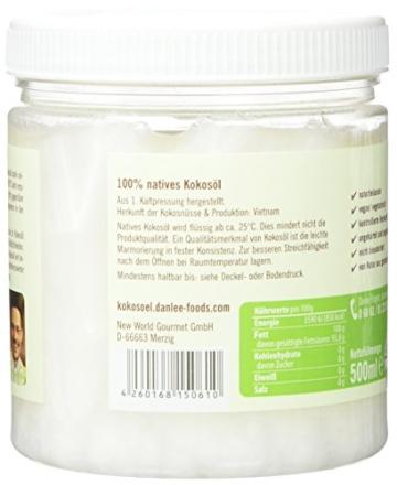 Danlee Kokosnussöl, kaltgepresst - nativ, 1er Pack (1 x 500 ml) -
