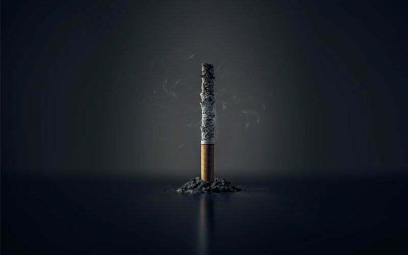 Bild zeigt abgebrannte Zigarette