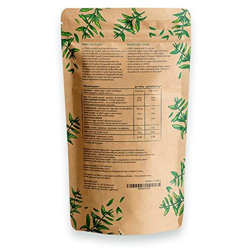 SweetCare Kristall-Zucker ist der natürlicher Zuckerersatz mit Erythrit und Stevia im 1 Kg Beutel - 7