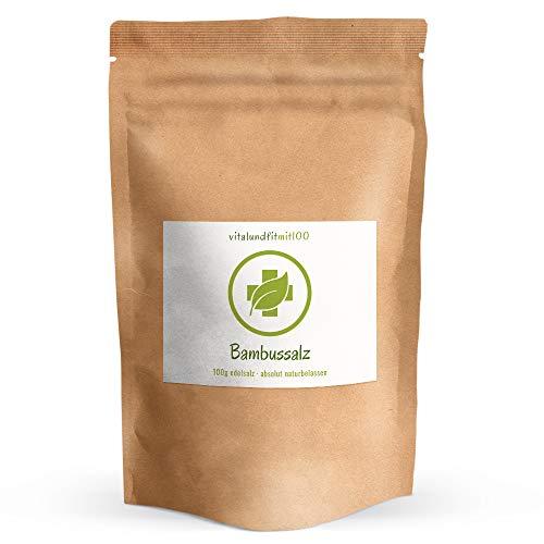 Bambussalz fein gemahlen - 100 g - gebranntes Meersalz (Speisesalz) - 100% reines Naturprodukt - Original koreanischer Bambussalz - pH-Wert von 10 - natürlicher Herstellungsprozess - 3