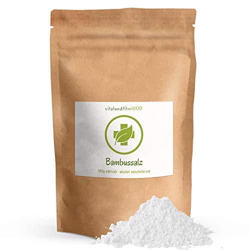 Bambussalz fein gemahlen - 100 g - gebranntes Meersalz (Speisesalz) - 100% reines Naturprodukt - Original koreanischer Bambussalz - pH-Wert von 10 - natürlicher Herstellungsprozess - 1
