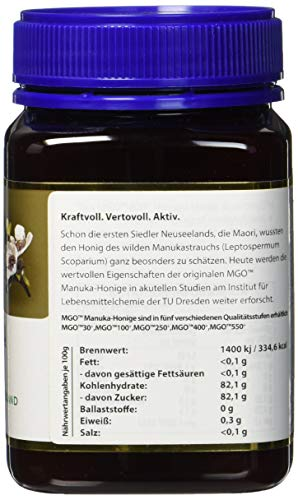 Manuka Health - Manuka Honig MGO 400+ 500g - 100% Pur aus Neuseeland mit zertifiziertem Methylglyoxal Gehalt - 2