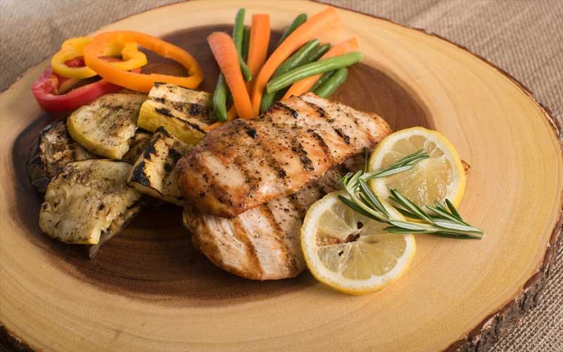 Teller mit Fleisch und Gemüse